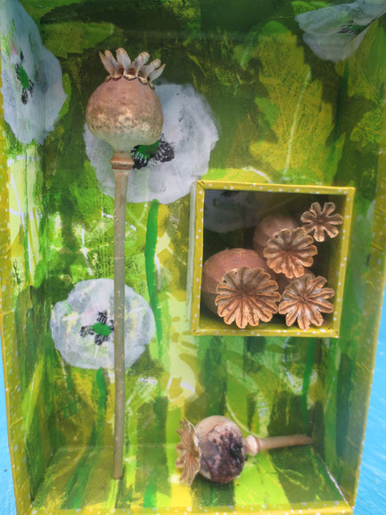 handmade treasure box with poppy pods