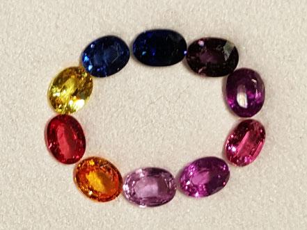 Bunte Saphir-Skala, natürliche Farben