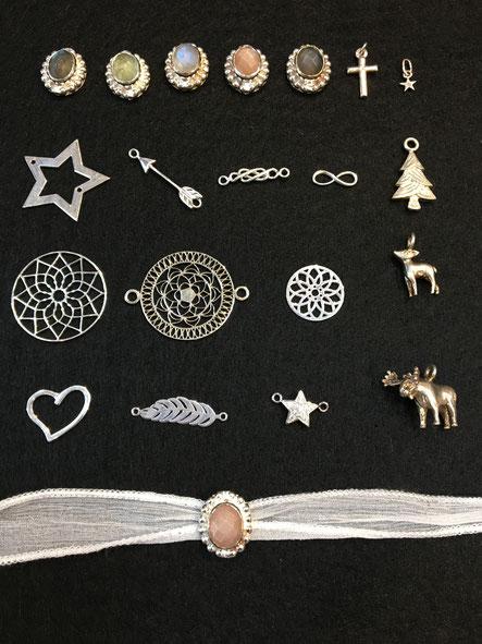 Silberteile für Armbänder