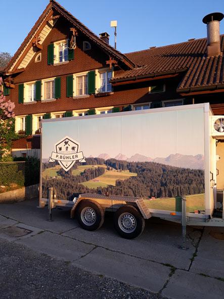 Kühlanhänger von unserem Metzger Peter Bühler mit integriertem Vakumierabteil