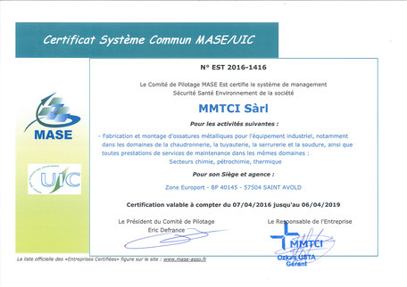 Certification Mase MMTCI