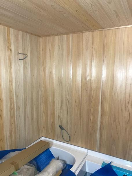 浴室の板張りが完了