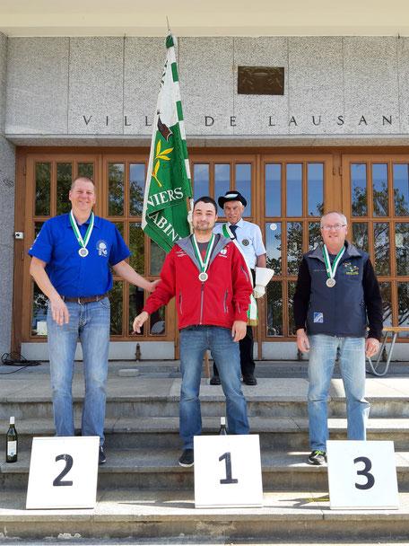 2ème Court Cyril (Froideville TS), 1er Guignard Christophe (Montricher Mont Tendre), 3ème Distel Patrick (Chexbres-Puidoux TS du Dézaley)