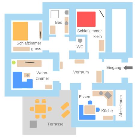 Skizze unserer 95 m² Erdgeschoss-Ferienwohnung im Haus Strasser in Malta