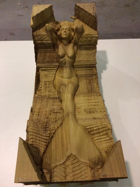 Talla de escultura de sirena, mascarón de proa