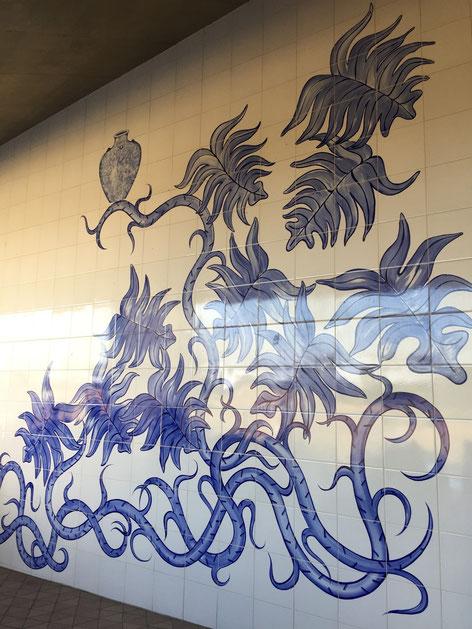 大きな陶板画の壁がありました。さすが、瀬戸を始め、窯元が沢山あるエリアだけある。