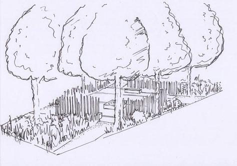 Perspective du projet : se dessine une place centrale, ornée par les sculptures en acier corten qui formeront des anamorphoses.
