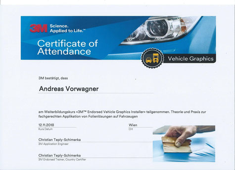 3M Certificate of Attendance Folierung Avery Deninsion Kematen an der Ybbs Austria