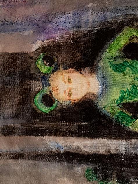 """A touch of Frog Lake"", 55.5X45.5 cm., pastel, watercolor, pen, Sakura ink on canvas, 2019, Carmen Moreno"
