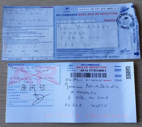 Accusé de Réception & Preuve de Dépôt Ma lettre recommandée du 05 Février 2020 N° 1A 177 673 8690 2 de Six Pages en couleurs www.jesuispatrick.fr