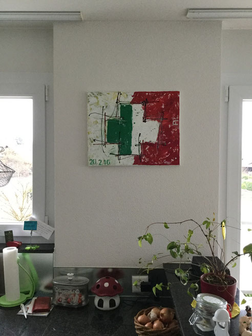 """Mein Bild """"Abschied"""" an seinem endgültigen Platz, Acrylcollage, rot-weiss-grün"""