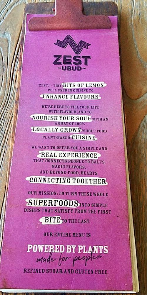 zest menu ubud bali
