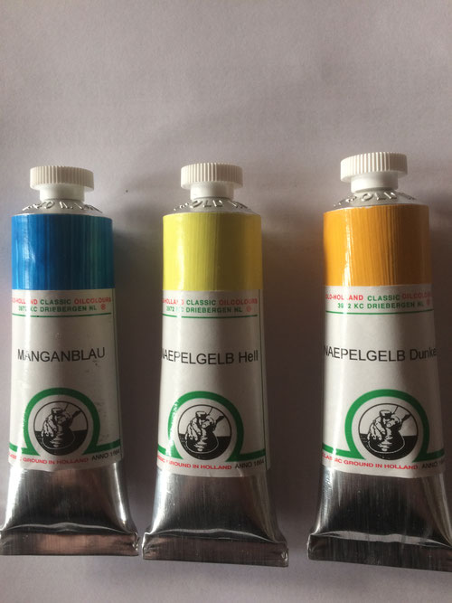 Oudt Hollandse Ölfarbe, Manganblau echt PB33, Neapelgelb echt (Bleiantimonat), hell und mittel