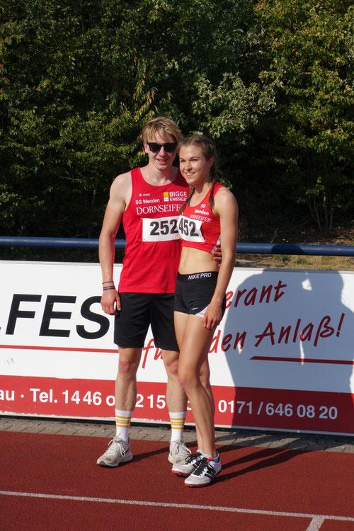 Frederik Wehner und Johanna Pulte im letzten Sommer im Rahmen der Förderwettkämpfe der SG Wenden