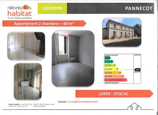 VOUS POUVEZ CONTACTER LA MAIRIE OU NIEVRE HABITAT EN COPIANT LE LIEN SUIVANT : https://www.nievrehabitat.com/properties/2187-Appartement-La-Gare-LIMANTON-58290-2-Chambres
