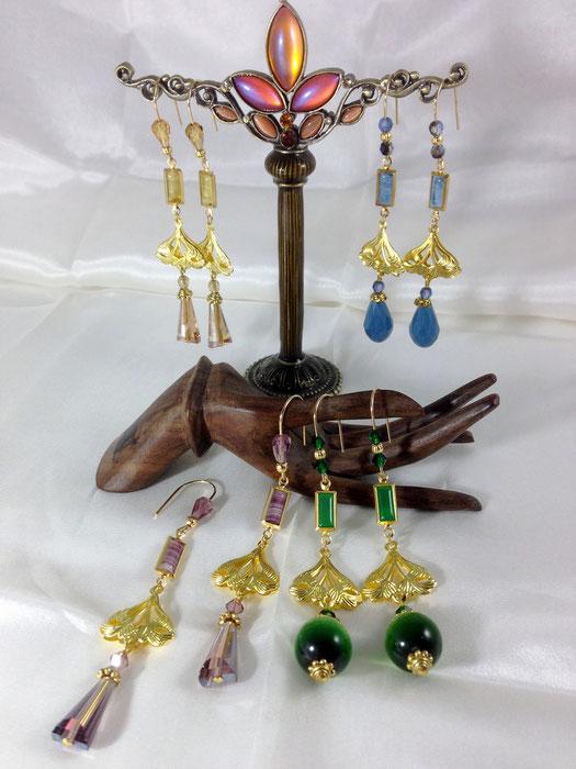 Boucles d'oreille Art Nouveau en pâte de verre ancienne et  filigrane doré