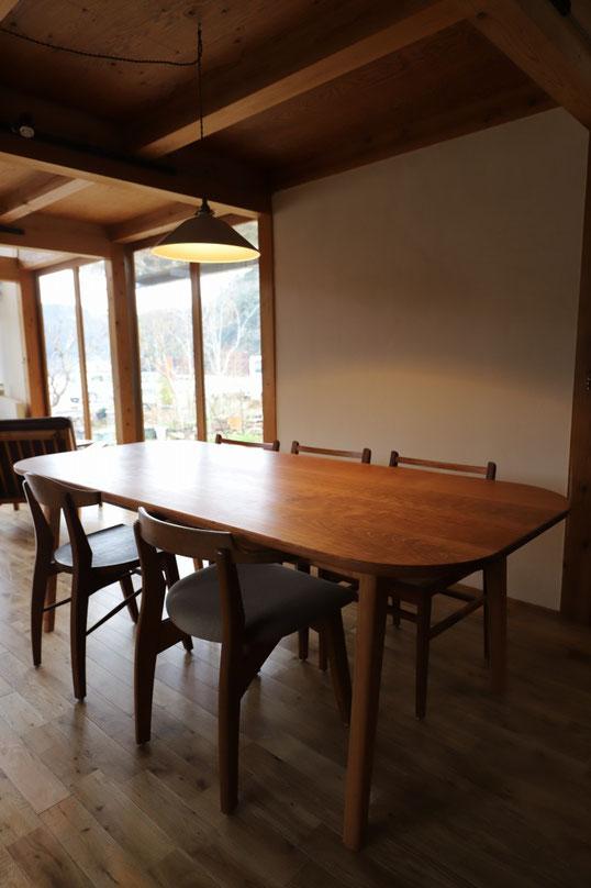 6人掛けのテーブル 210㎝テーブル 210㎝テーブル ブラックチェリーテーブル