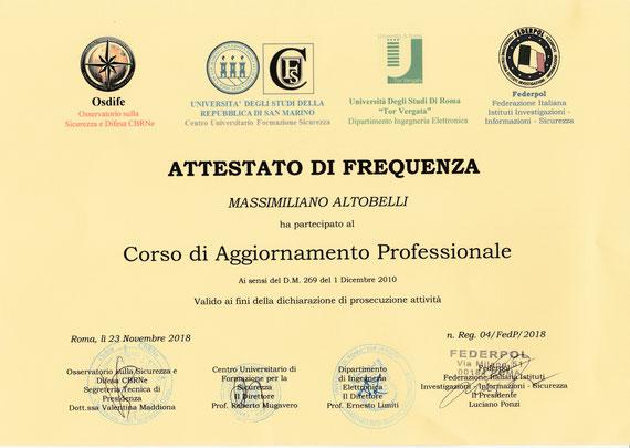 """Corso di Aggiornamento Professionale presso Università Studi di Roma """"Tor Vergata"""" ."""