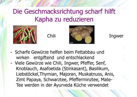 Mit welchen Lebensmitteln kann man Kapha reduzieren, Chili, Ingwer.