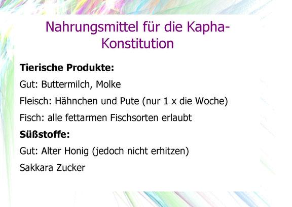 Weitere Nahrungsmittel für die Kapha- Konstitution.