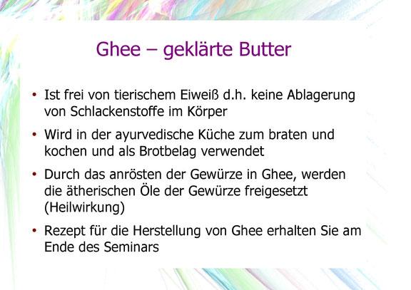 Beschreibung der Bedeutung von Ghee - geklärter Butter