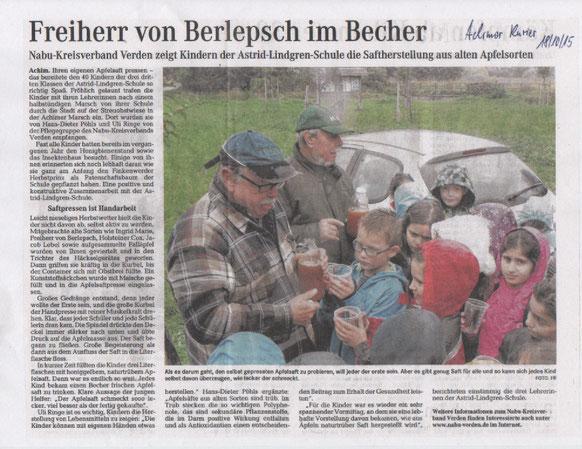 Freiherr von Berlepsch im Becher - Saftherstellung aus alten Apfelsorten auf der Achimer Streuobstwiese