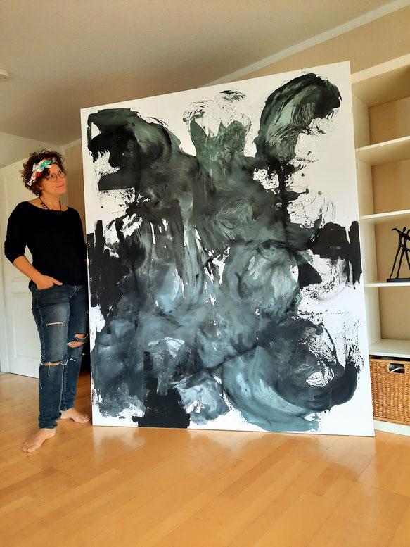 große Bilder malen lassen  -Gemälde mit Künstlerin