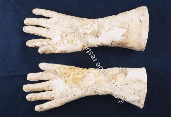 Fig. 16 - Gants restaurés, vue côté paume. ©rapport de restauration