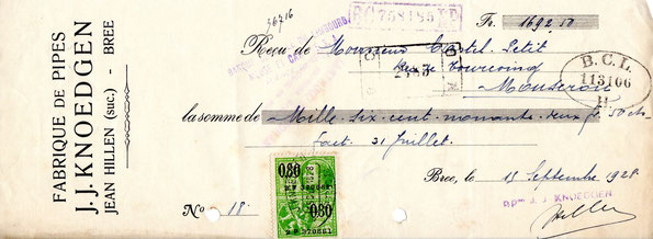 Kwitantie J.J. Knoedgen (Hillen) 19 September 1928