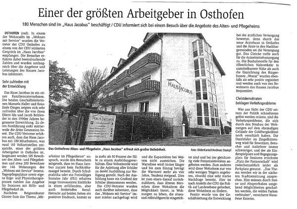 Bericht aus der Wormser Zeitung vom 07.12.18
