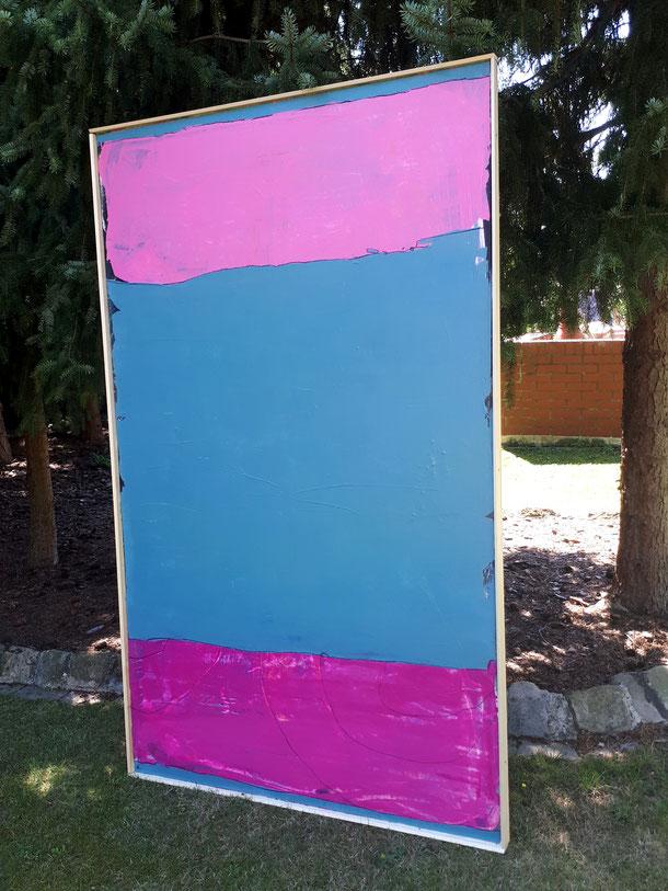 abstraktes Landschafts-Bild in petrol - rosa - weinrot