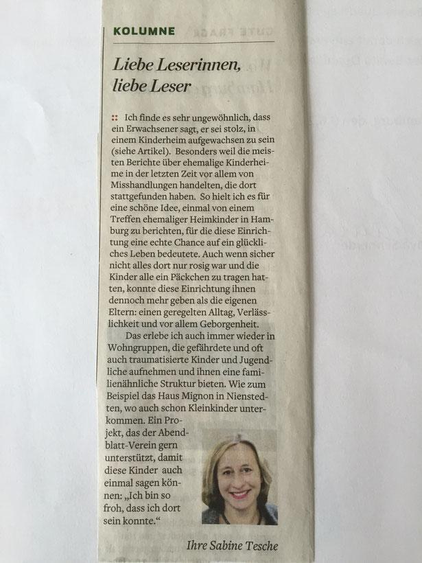 Kommentar Sabine Tesche im Hamburger Abendblatt vom 11./12. Juni 2016