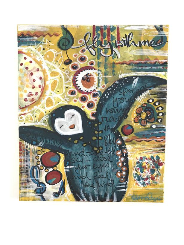 Pinguin, happy painting, canvas, happy painting goes big, Melanie Riemer, glückskleckserin