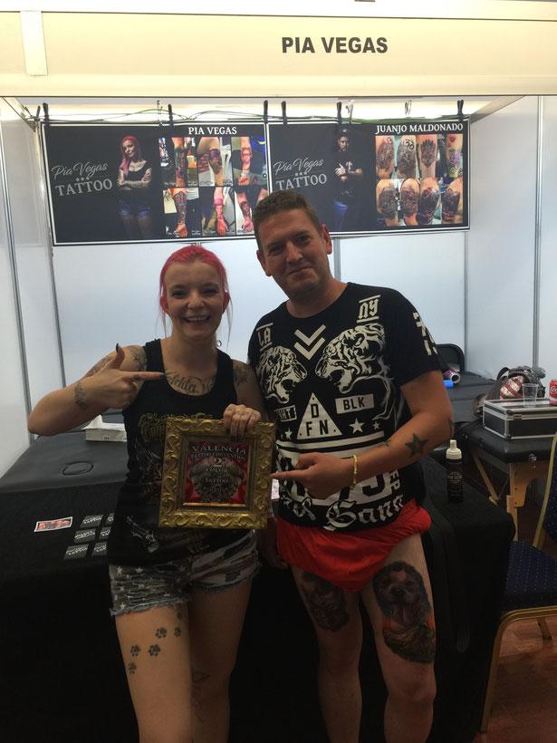Pia Vegas preis gewonnen ausgezeichnet prämiert Valencia Tattoo Convention