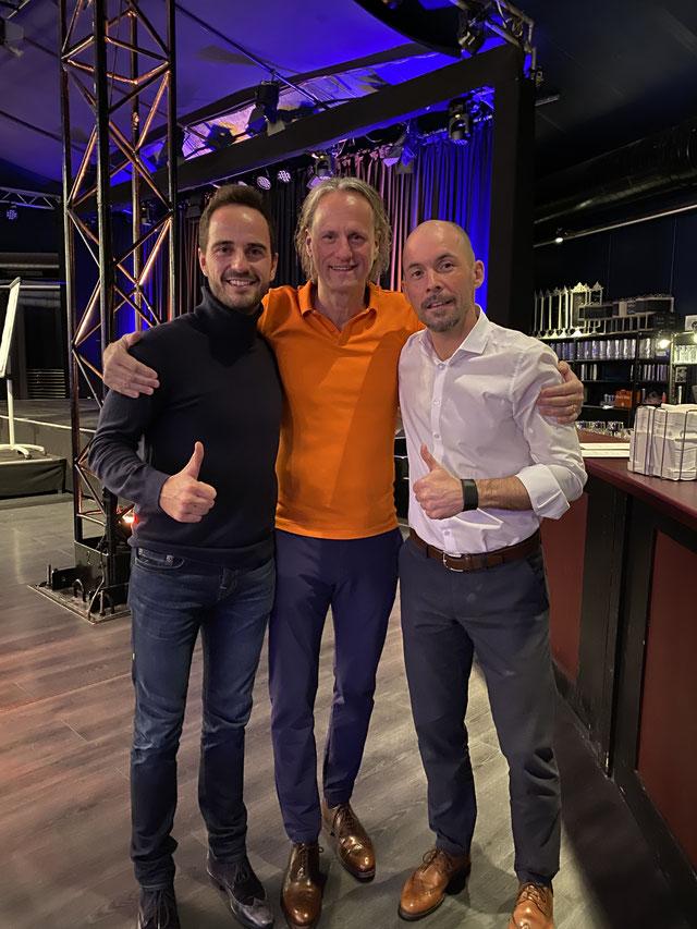 Tobias Meyer und Heiner Boos mit Mentaltrainerlegende Thomas Baschab