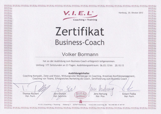 Zertifikat V.I.E.L Coaching & Training