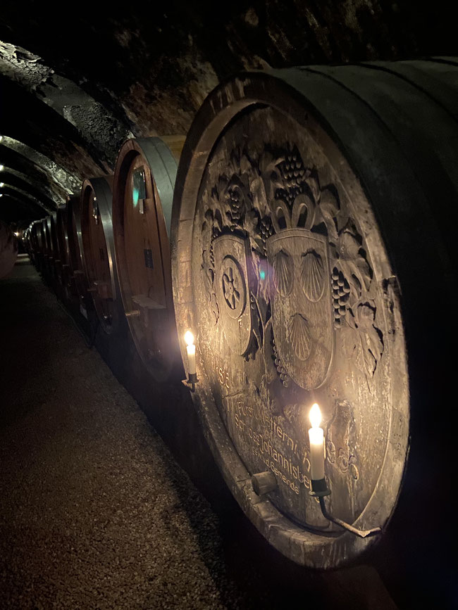 Schloss Johannisberg's coat of arms engraved on a Wine Barrel - Rheingau wine region