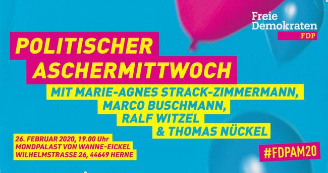 Einladung zum politischen Aschermittwoch der FDP Ruhr