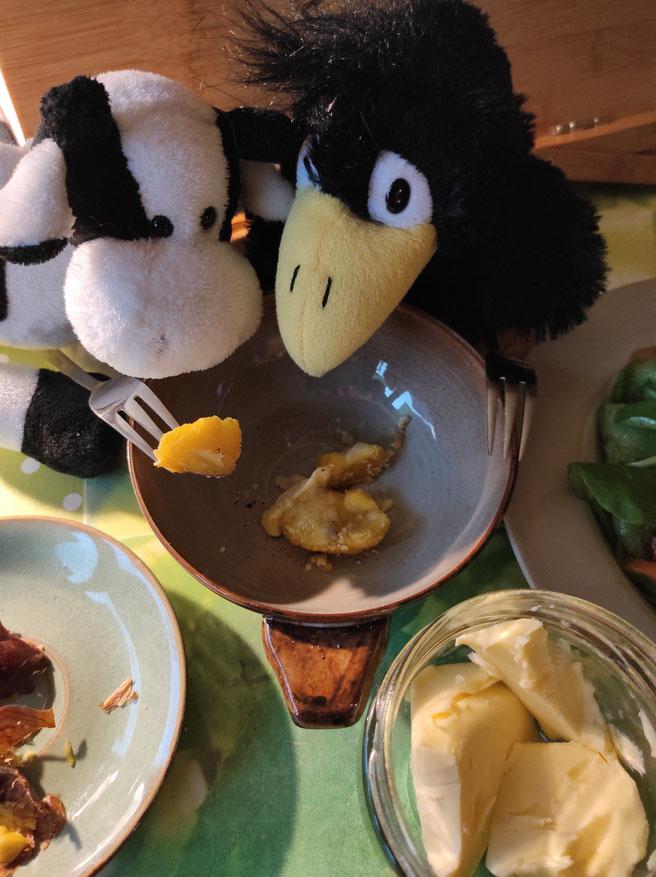 Herbstliches Maronen-Essen: Toni und Willi freuen sich auf ihre Esskastanien. Gekocht, mit Butter, Pfeffer und Salz sind diese für die Bocholter KuTis ein echter Schmaus!