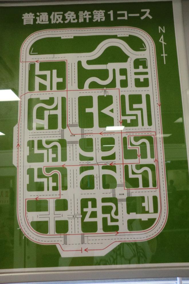技能試験発着待合室に掲示されているコース図