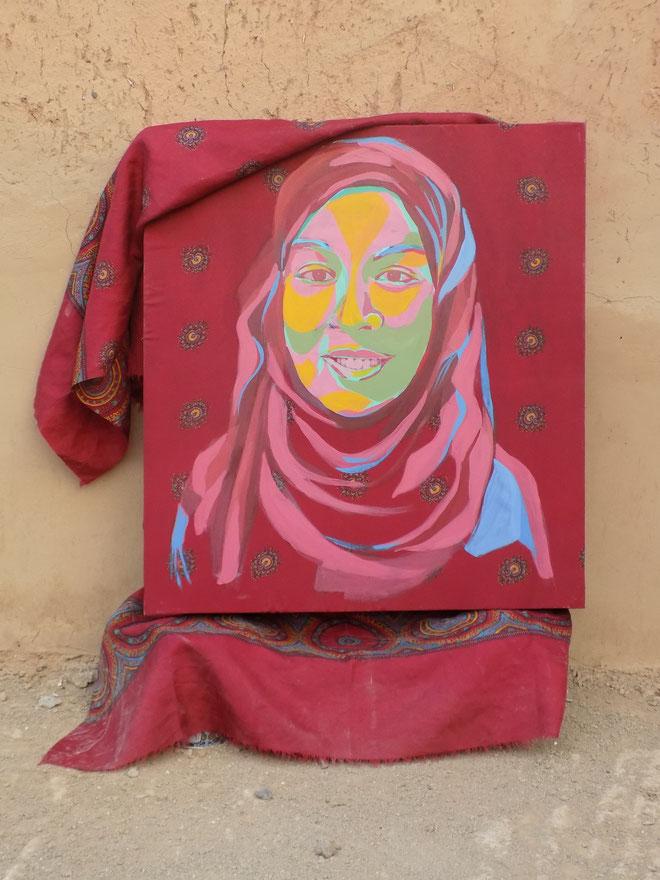 Femme Marocain IV - 2019 - 55x55 cm, acryl op een hoofddoek