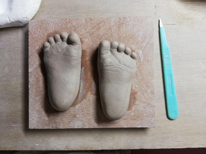 陶芸家 ブログ 焼き物 陶芸作品 茨城県笠間市 足形 手形 赤ちゃん 子供 立体足形 型取り