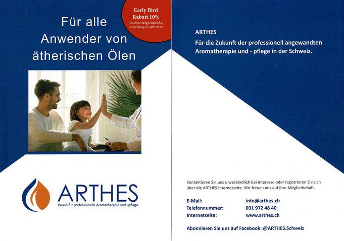 """Flyer ARTHES """"Verein für professionelle Aromatherapie und -pflege Schweiz"""""""