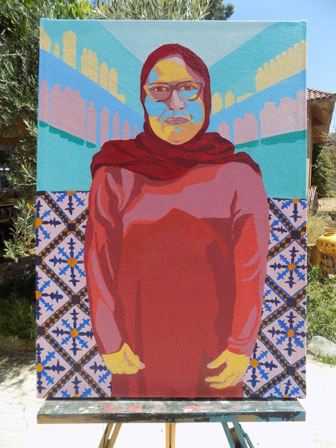 Femme Marocain I - 2019 - 70x100cm, acryl op doek