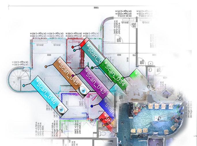 3D-Laserscanning: Punktewolke, Registrierung, CAD, Grundriss