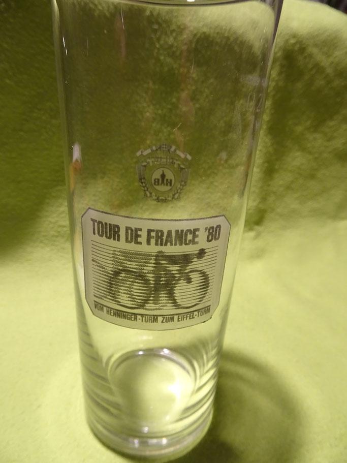 Auch als Bierglas hat sich die Tour de France 1980 in Frankfurt verewigt.