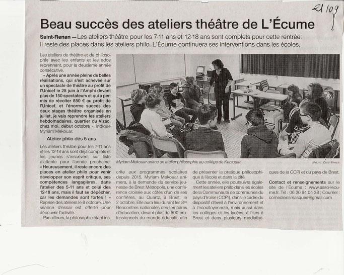 Un grand merci à Christian Abarnou, journaliste à Ouest France pour ce bel article qui permet de promouvoir la pratique du philosopher en Finistère !