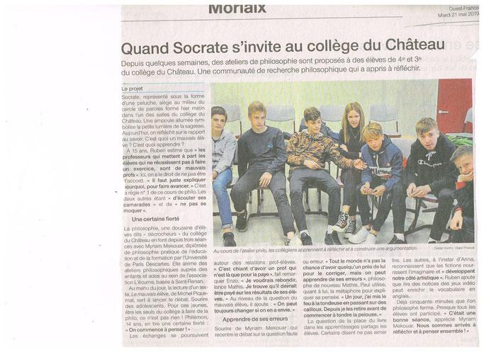 Merci à Ouest France pour ce bel article qui participe à promouvoir la pratique philo avec les jeunes !