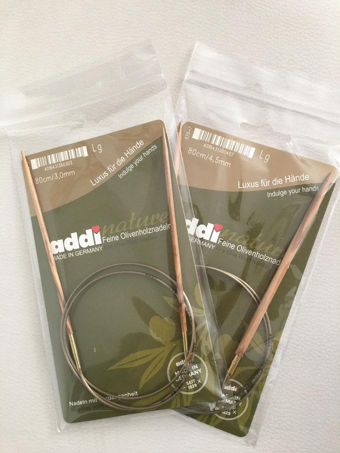 Addi Rundstricknadeln aus Olivenholz. Nachhaltig.