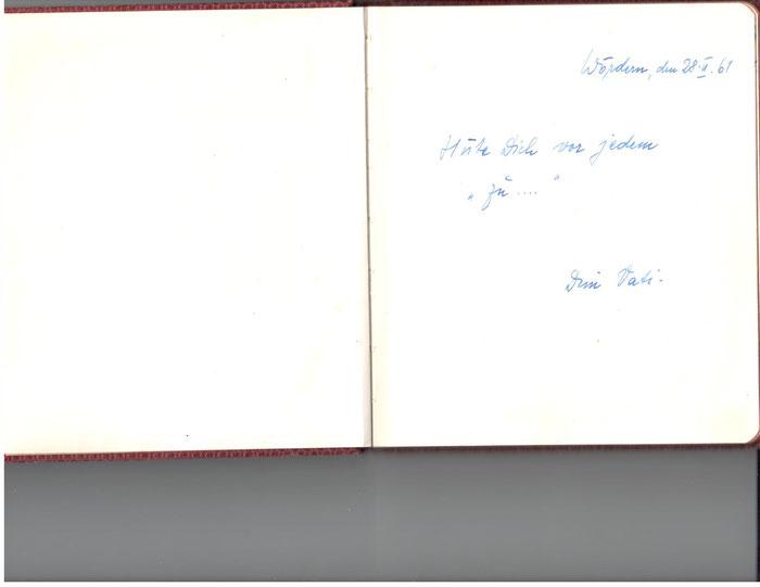 Stammbucheintrag meines Vaters. 1961